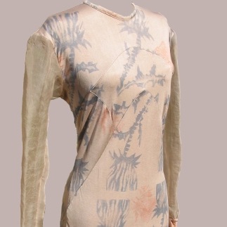 Hand block printed silk jersey using madder, iron and logwood